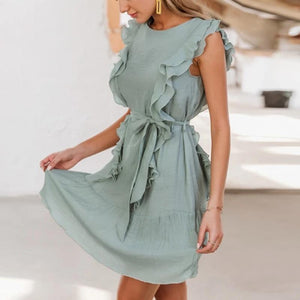 Elegant Ruffled Solid Chiffon Sleeveless Mini Summer Dress-women-wanahavit-Grey Blue-S-wanahavit