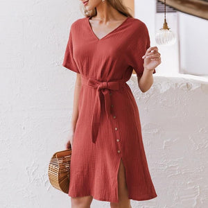 Elegant V-neck Streetwear Strap Buttons Cotton Summer Office Dress-women-wanahavit-Orange-S-wanahavit