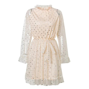 Hollow Out Polka Dot Ruffled High Waist Mini Night Party Dress-women-wanahavit-Beige-L-wanahavit