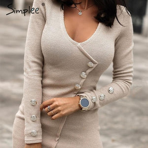 Autumn Elegant Buttons Long sleeve Bodycon Sheath Mini Dress-women-wanahavit-Khaki-S-wanahavit