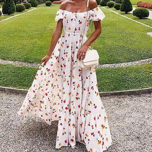 Off Shoulder Flower Print Elastic High Waist Ruffled Beach Long Dress-women-wanahavit-Flowerprint-S-wanahavit