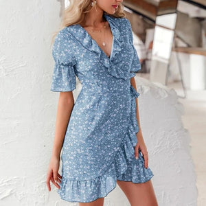 Sexy Floral Print Bohemian Ruffled Asymmetric Short Sleeve Mini Dress-women-wanahavit-Blue-M-wanahavit