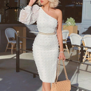 Sexy One Shoulder Elegant Dot Print Bodycon Puff Sleeve Midi Dress-women-wanahavit-White-S-wanahavit