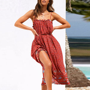 Sexy Sleeveless Floral Print Ruffled High Waist Beach Slim Fit Maxi Dress-women-wanahavit-Red-S-wanahavit