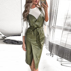 Sexy V-neck PU Leather Sleeveless High Waist Elegant Party Dress-women-wanahavit-Green-S-wanahavit