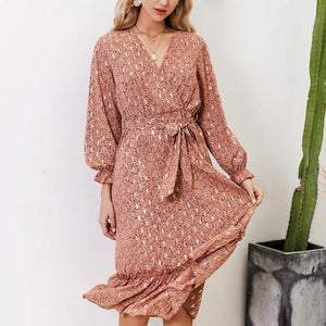 Sexy V-neck Printed Ruffled Elegant Long Sleeve Pleated Bohemian Maxi Dress-women-wanahavit-Burgundy-S-wanahavit