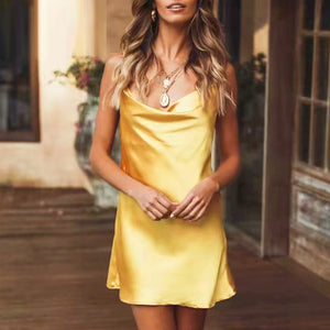 Sexy V-neck Spaghetti Strap Party Club Night Solid Silk Mini Dress-women-wanahavit-Yellow-S-wanahavit