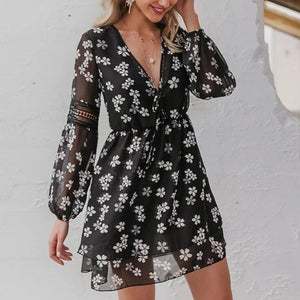 Sexy V-neck Floral Holiday Elegant Stitching Lantern Sleeve Mini Dress-women-wanahavit-Black-L-wanahavit