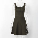 Sleeveless Autumn Zippered Dress-women-wanahavit-Army Green-One Size-wanahavit