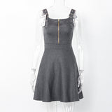 Sleeveless Autumn Zippered Dress-women-wanahavit-Gray-One Size-wanahavit