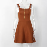Sleeveless Autumn Zippered Dress-women-wanahavit-Brown-One Size-wanahavit