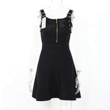 Sleeveless Autumn Zippered Dress-women-wanahavit-Black-One Size-wanahavit