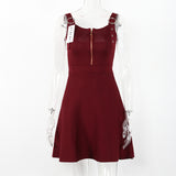 Sleeveless Autumn Zippered Dress-women-wanahavit-Red-One Size-wanahavit