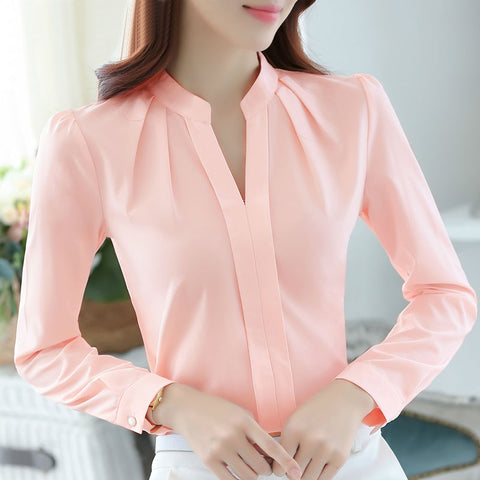 Formal Long Sleeve Chiffon Blouse