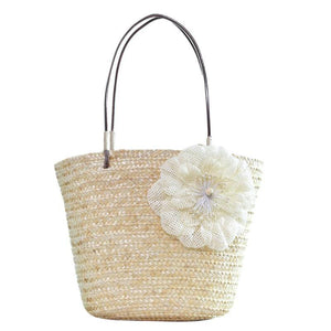 Summer Floral Bohemian Straw Woven Tote Bag-women-wanahavit-Beige-wanahavit
