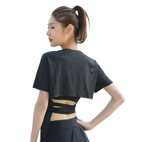 Backless Bandage Short Sleeve Shirt