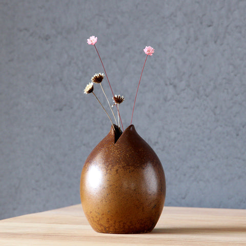 Japanese Modern Mini Ceramic Flower Vase-home accent-wanahavit-Brown-wanahavit