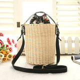 Rattan Bucket Lady Beach Handbag-women-wanahavit-white-M-wanahavit