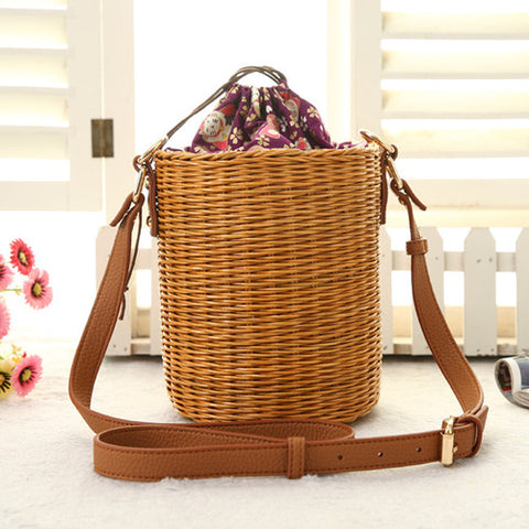 Rattan Bucket Lady Beach Handbag