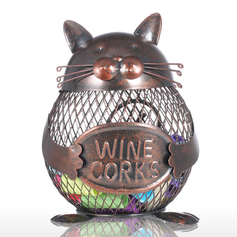 Iron Kitten Cork Container-home accent-wanahavit-Brown-wanahavit