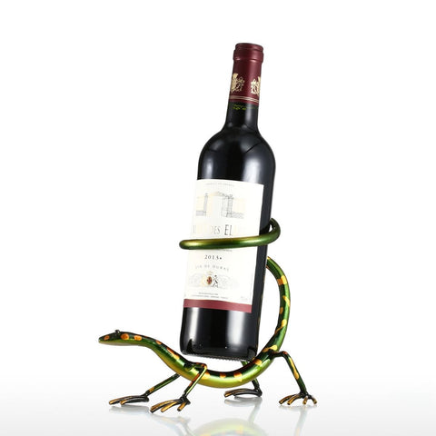 Iron Funny Gecko Wine Bottle Holder