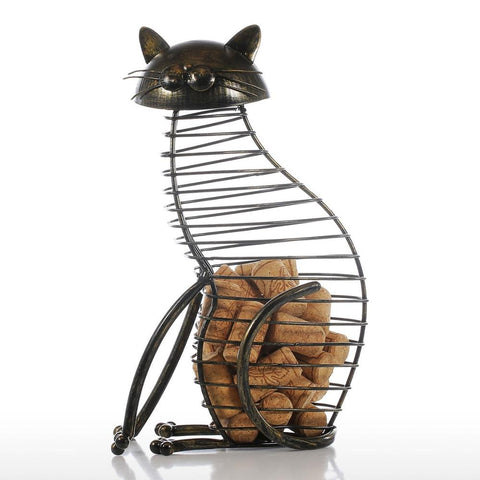 Iron Cat Figurine Bottle Cork Container-home accent-wanahavit-as picture-wanahavit