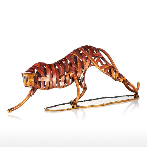 Metal Weaving Leopard Figurine-home accent-wanahavit-Orange-wanahavit