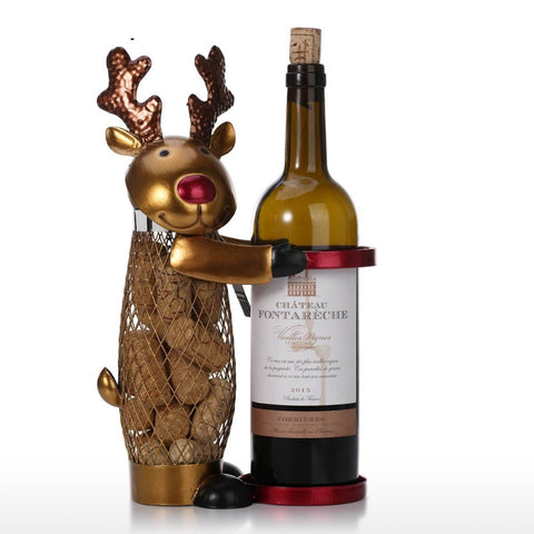 Netted Christmas Elk Bottle Holder