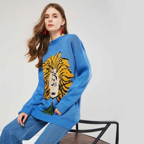 Cartoon Figure Printed Knitted Sweater - women - wanahavit