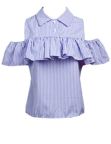 Summer Plaid Striped Off the Shoulder Loose Ruffles-women-wanahavit-Sky Blue-L-wanahavit