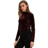 Turtleneck Velvet Long Sleeve Casual Slim Shirt-women-wanahavit-Caramel-One Size-wanahavit
