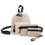 Bohemian Straw Hollow Out Set Backpack + Shoulder Bag + Clutch - women - wanahavit