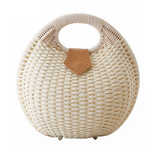 Snail Beach Straw Tote Bag with Rattan Wrapped Handle-women-wanahavit-White-wanahavit