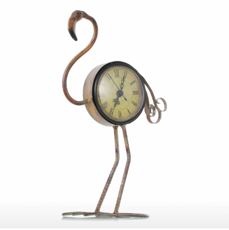 Retro Flamingo Wrought Iron Table Clock