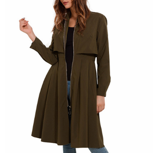 Casual Long Zippered Trench Coat-women-wanahavit-Army Green-S-wanahavit