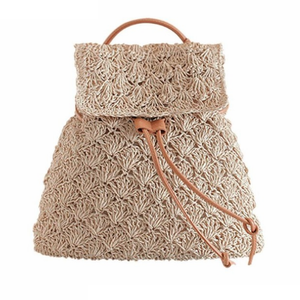Drawstring Hollow Out Straw Knitted Tote Bag-women-wanahavit-wanahavit