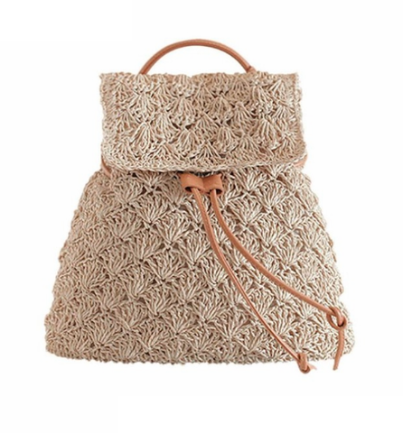 Drawstring Hollow Out Straw Knitted Tote Bag-women-wanahavit