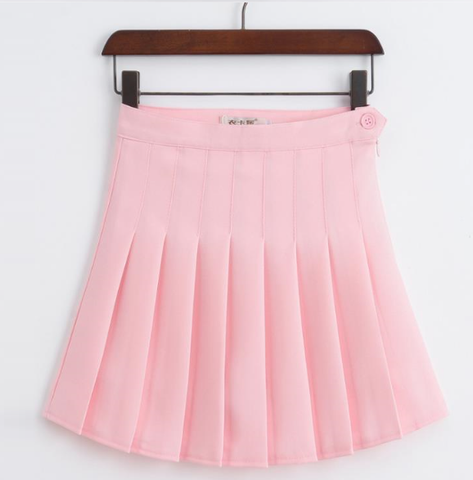 High Waist Solid Pleated Mini Skirts-women-Light Pink-M-wanahavit