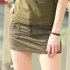 Embroidery Casual Slim Fitted Skirt Shorts With Pockets-women-wanahavit-Army Green-26-wanahavit