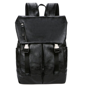 Large Capacity Double Snapper Leather Backpack-men-wanahavit-black-wanahavit