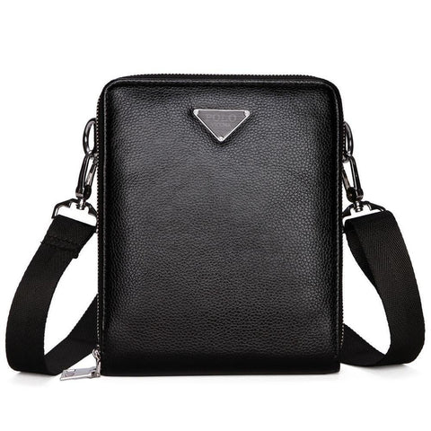 Double Pocket Leather Shoulder Bag-men-small black-wanahavit