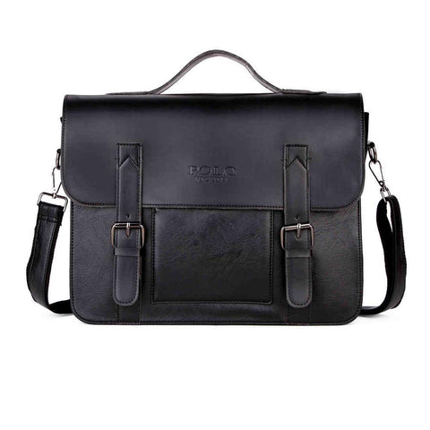Double Belt Decor Businessmen Leather Briefcase-men-Black-wanahavit