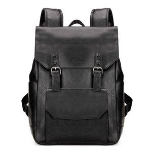 Casual Double Belt Leather Backpack-men-wanahavit-Black-wanahavit