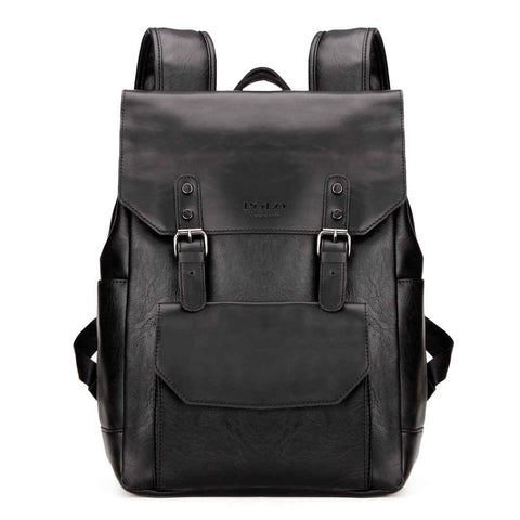 Casual Double Belt Leather Backpack