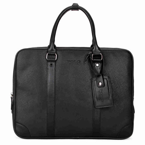 Strap Decor Businessmen Leather Briefcase