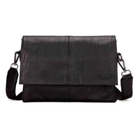 Casual Black Envelope Leather Shoulder Bag - men - wanahavit