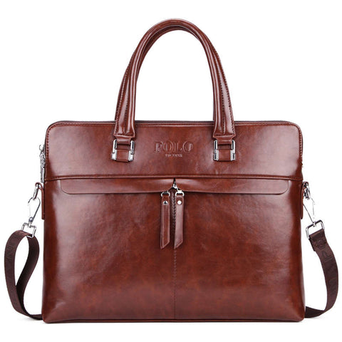 Double Partition Businessmen Leather Briefcase