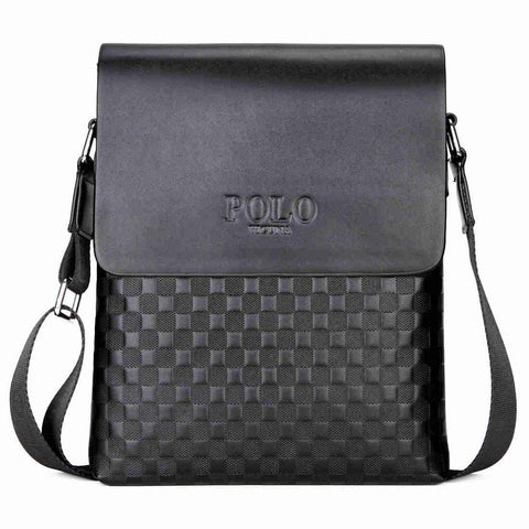 Classic Plaid Design Business Leather Shoulder Bag
