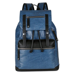 Two Color Accent Drawstring Leather Backpack-men-wanahavit-blue-wanahavit
