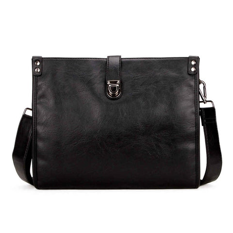 Solid Black Snap Fastened Leather Shoulder Bag-men-Black-wanahavit